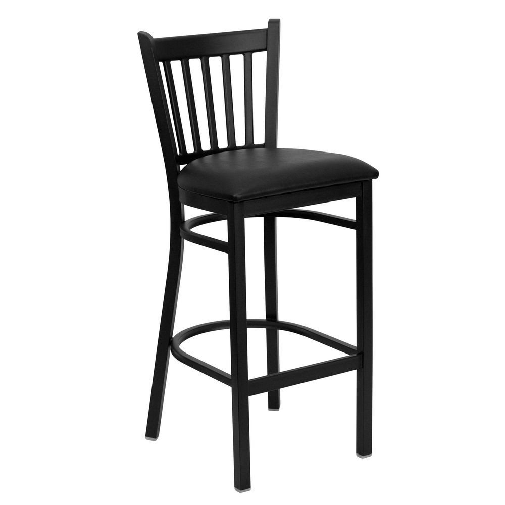 Flash Furniture XU-DG-6R6B-VRT-BAR-BLKV-GG HERCULES Series Black Vertical Back Metal Restaurant Bar Stool - Black Vinyl Seat