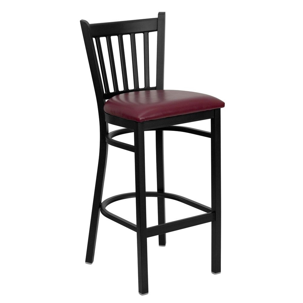 Flash Furniture XU-DG-6R6B-VRT-BAR-BURV-GG HERCULES Series Black Vertical Back Metal Restaurant Bar Stool - Burgundy Vinyl Seat
