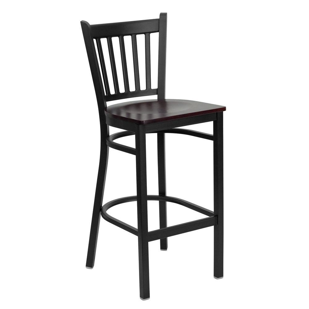 Flash Furniture XU-DG-6R6B-VRT-BAR-MAHW-GG HERCULES Series Black Vertical Back Metal Restaurant Bar Stool - Mahogany Wood Seat