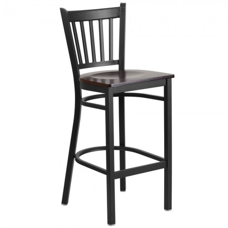 Flash Furniture XU-DG-6R6B-VRT-BAR-WALW-GG HERCULES Black Vertical Back Metal Restaurant Barstool - Walnut Wood Seat