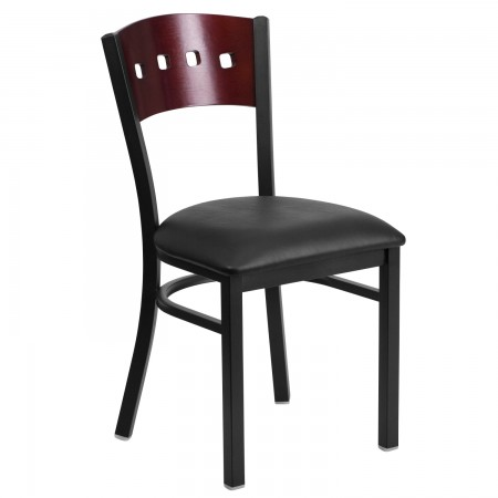 Flash Furniture XU-DG-6Y1B-MAH-BLKV-GG HERCULES Series Black Decorative 4 Square Back Metal Restaurant Chair, Mahogany Wood Back, Black Vinyl Seat