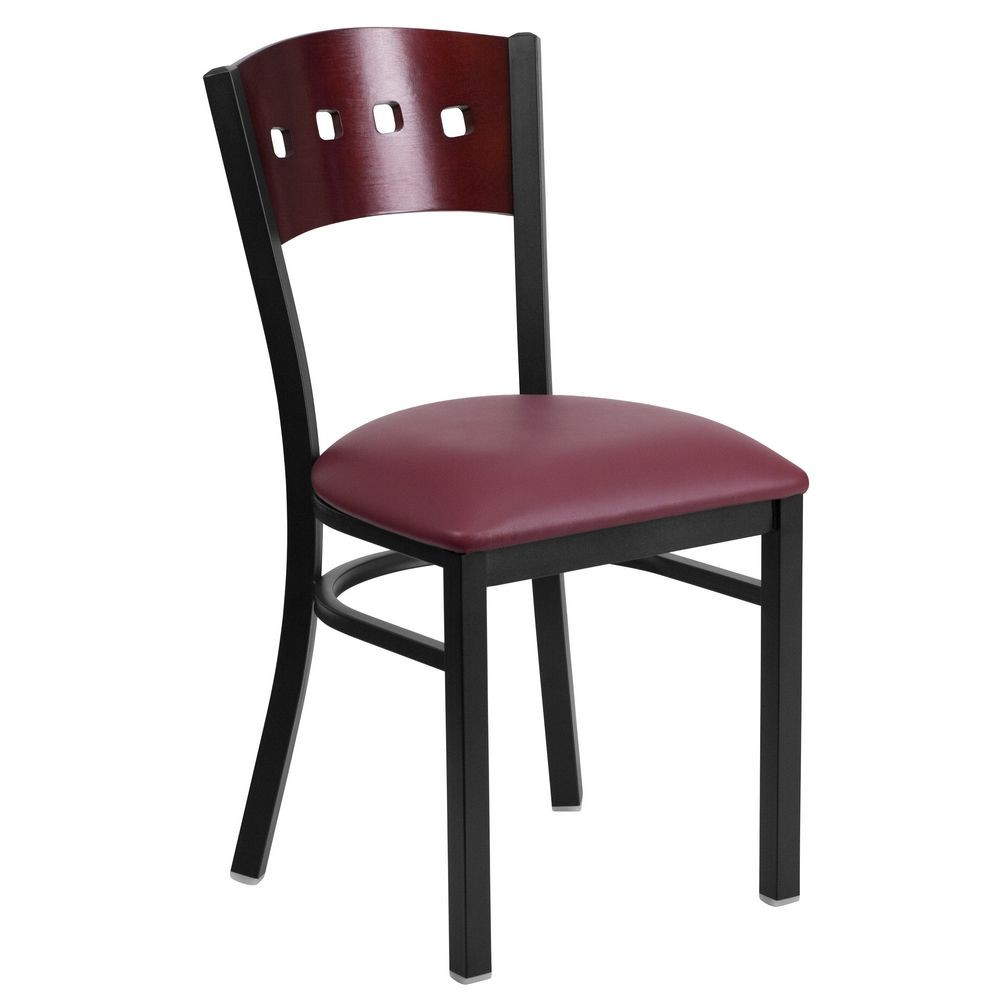 Flash Furniture XU-DG-6Y1B-MAH-BURV-GG Flash Furniture Flash Furniture HERCULES Series Black Decorative 4 Square Back Metal Restaurant Chair, Mahogany Wood Back, Burgundy Vinyl Seat