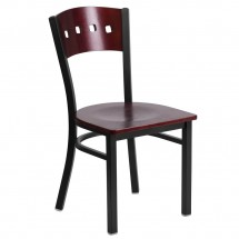 Flash Furniture XU-DG-6Y1B-MAH-MTL-GG HERCULES Series Black Decorative 4 Square Back Metal Restaurant Chair, Mahogany Wood Back and Seat