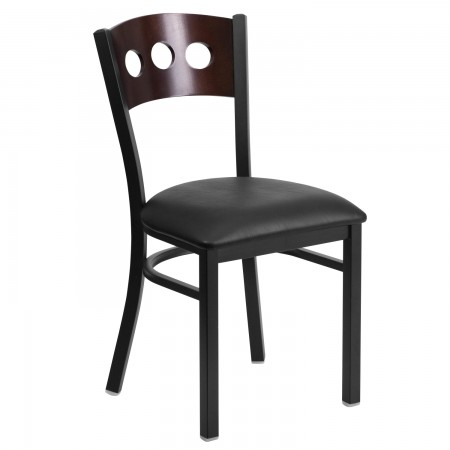 Flash Furniture XU-DG-6Y2B-WAL-BLKV-GG HERCULES Series Black Decorative 3 Circle Back Metal Restaurant Chair, Walnut Wood Back, Black Vinyl Seat