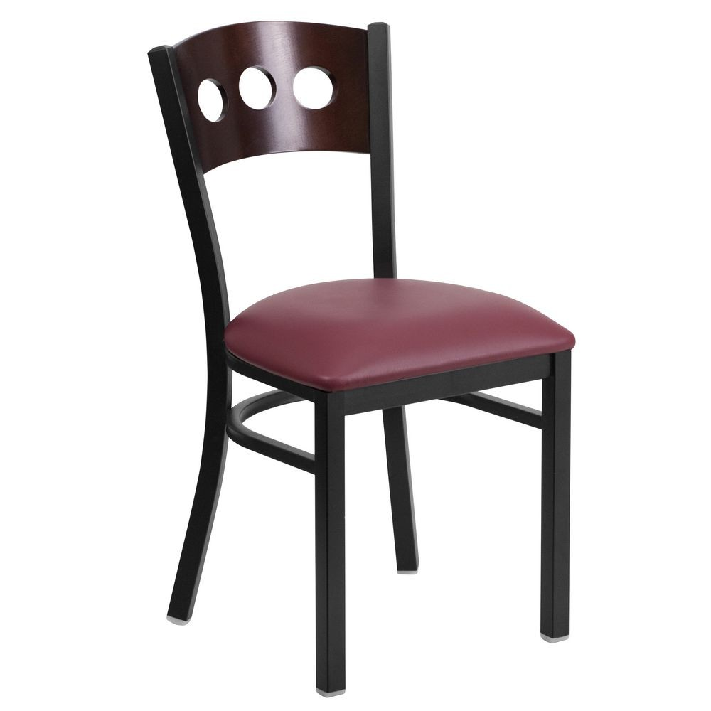 Flash Furniture XU-DG-6Y2B-WAL-BURV-GG HERCULES Series Black Decorative 3 Circle Back Metal Restaurant Chair, Walnut Wood Back, Burgundy Vinyl Seat