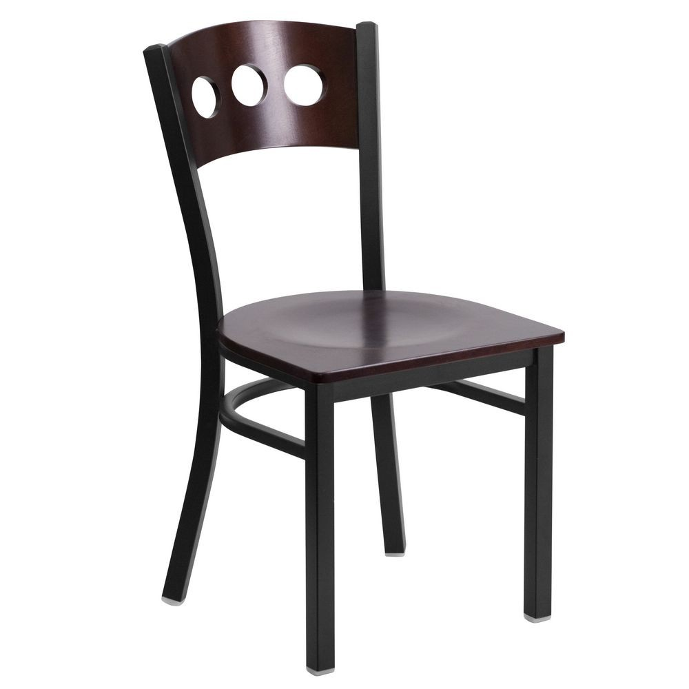 Flash Furniture XU-DG-6Y2B-WAL-MTL-GG HERCULES Series Black Decorative 3 Circle Back Metal Restaurant Chair, Walnut Wood Back and Seat