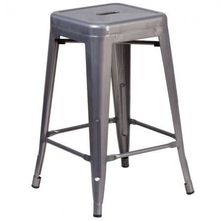 """Flash Furniture XU-DG-TP0004-24-GG 24"""" High Backless Clear Coated Metal Indoor Square Seat Counter Height Stool"""