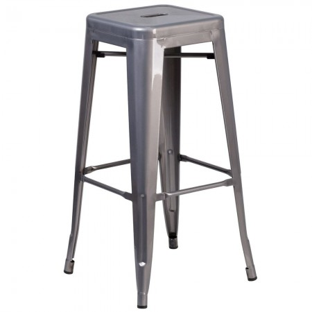 """Flash Furniture XU-DG-TP0004-30-GG 30"""" High Backless Clear Coated Metal Indoor Square Seat Counter Height Stool"""