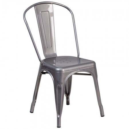 Flash Furniture XU-DG-TP001-GG Metal Indoor Clear Coated Stackable Chair