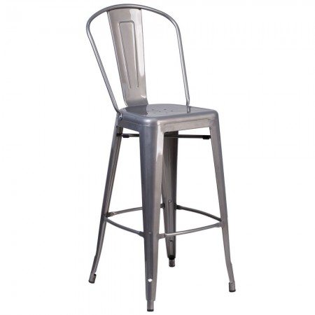 """Flash Furniture XU-DG-TP001B-30-GG 30"""" High Indoor Counter Height Clear Coated Stool with Back"""