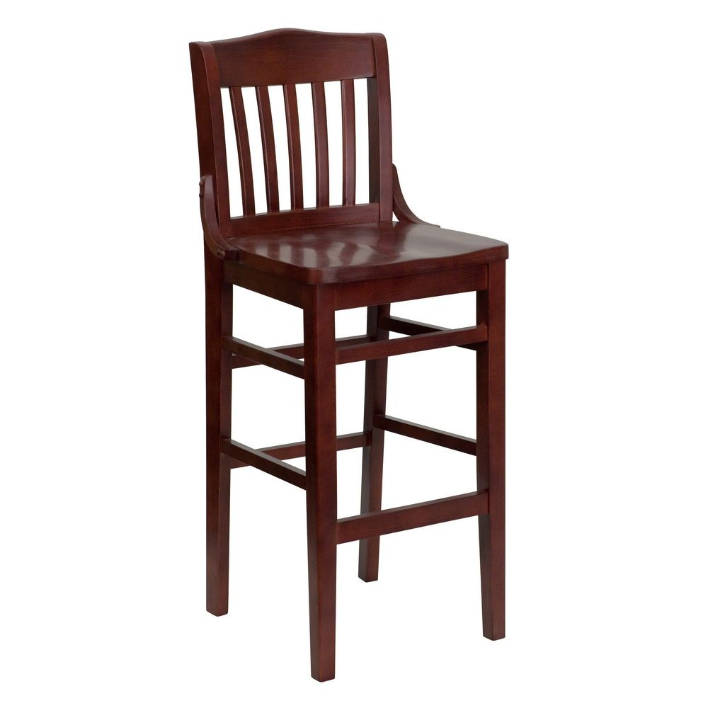 Flash Furniture XU-DG-W0006BAR-MAH-GG HERCULES Series Mahogany Finished School House Back Wooden Restaurant Bar Stool