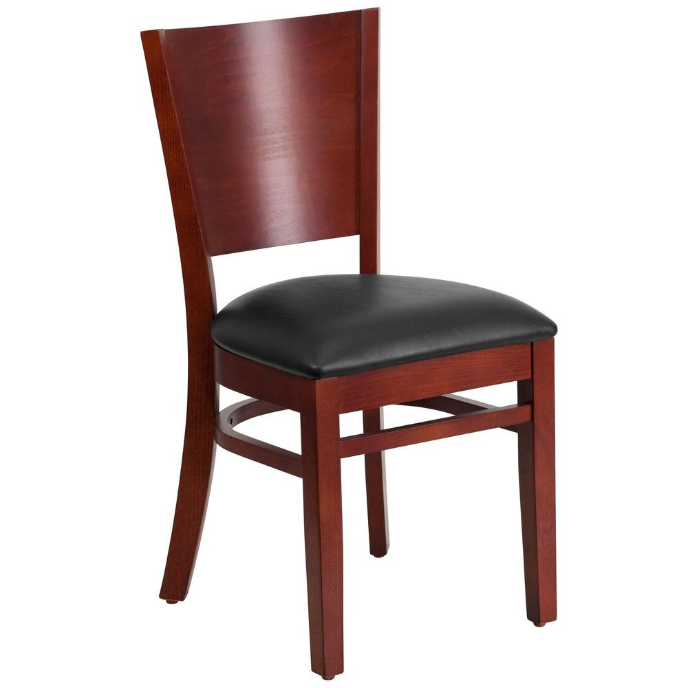 Flash Furniture XU-DG-W0094B-MAH-BLKV-GG Lacey Series Solid Back Mahogany Wooden Restaurant Chair - Black Vinyl Seat