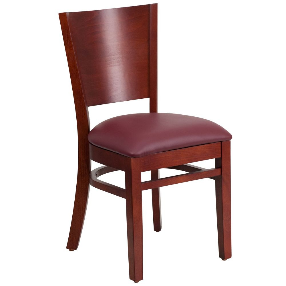 Flash Furniture XU-DG-W0094B-MAH-BURV-GG Lacey Series Solid Back Mahogany Wooden Restaurant Chair - Burgundy Vinyl Seat