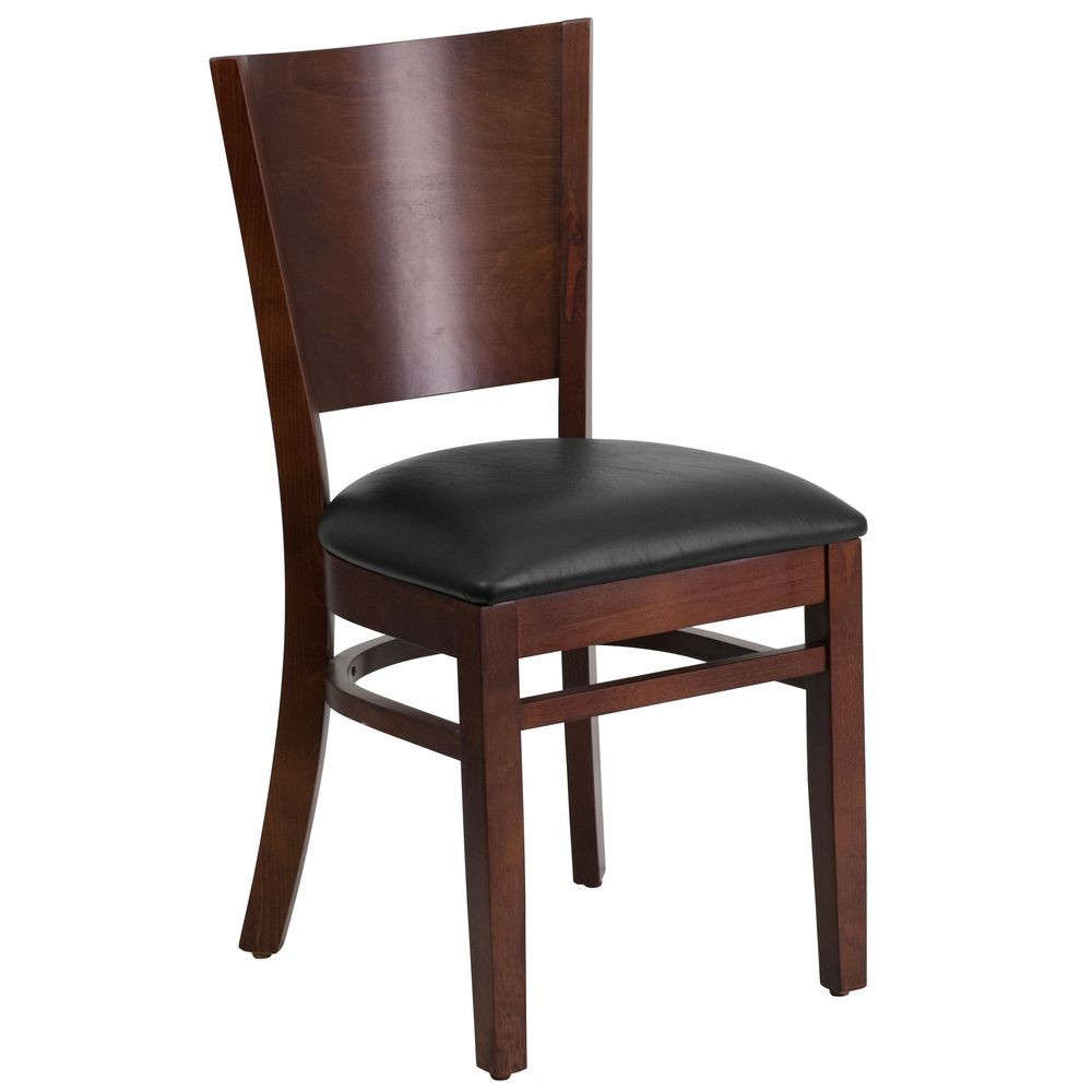 Flash Furniture XU-DG-W0094B-WAL-BLKV-GG Lacey Series Solid Back Walnut Wooden Restaurant Chair with Black Vinyl Seat