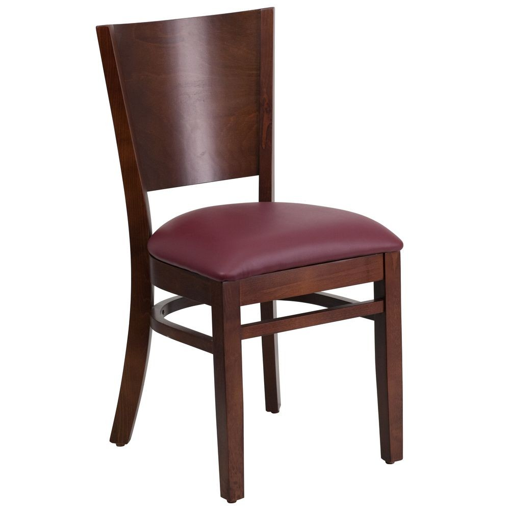 Flash Furniture XU-DG-W0094B-WAL-BURV-GG Lacey Series Solid Back Walnut Wooden Restaurant Chair with Burgundy Vinyl Seat