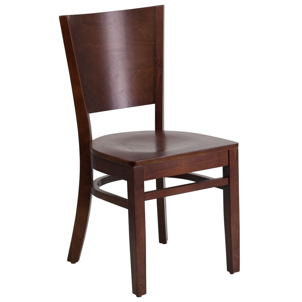 Flash Furniture XU-DG-W0094B-WAL-WAL-GG Lacey Series Solid Back Walnut Wooden Restaurant Chair