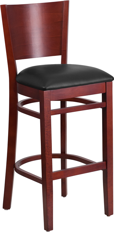 Flash Furniture XU-DG-W0094BAR-MAH-BLKV-GG Lacey Series Solid Back Mahogany Wooden Restaurant Barstool, Black Vinyl Seat