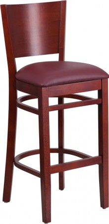 Flash Furniture XU-DG-W0094BAR-MAH-BURV-GG Lacey Series Solid Back Mahogany Wooden Restaurant Barstool, Burgundy Vinyl Seat
