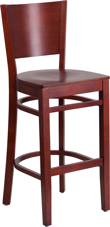 Flash Furniture XU-DG-W0094BAR-MAH-MAH-GG Lacey Series Solid Back Wooden Mahogany Restaurant Barstool