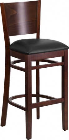 Flash Furniture XU-DG-W0094BAR-WAL-BLKV-GG Lacey Series Solid Back Walnut Wooden Restaurant Barstool. Black Vinyl Seat