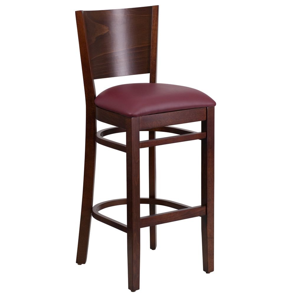 Flash Furniture XU-DG-W0094BAR-WAL-BURV-GG Lacey Series Solid Back Walnut Wooden Restaurant Barstool, Burgundy Vinyl Seat