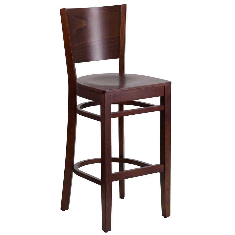 Flash Furniture XU-DG-W0094BAR-WAL-WAL-GG Lacey Series Solid Back Walnut Wooden Restaurant Barstool