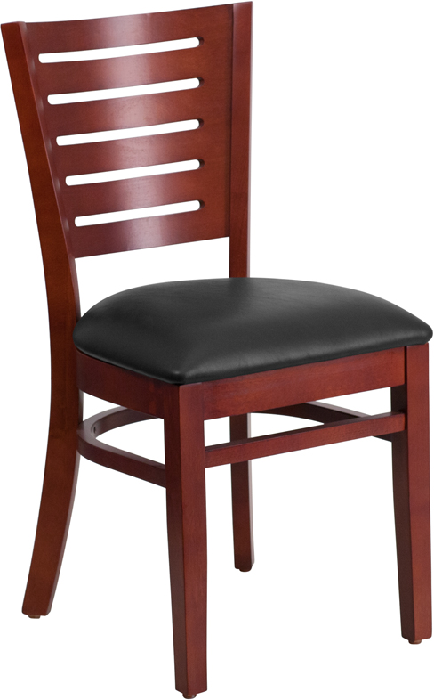 Flash Furniture XU-DG-W0108-MAH-BLKV-GG Darby Series Slat Back Mahogany Wooden Restaurant Chair, Black Vinyl Seat