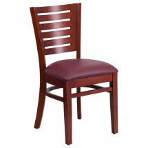 Flash Furniture XU-DG-W0108-MAH-BURV-GG Darby Series Slat Back Mahogany Wooden Restaurant Chair, Burgundy Vinyl Seat