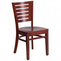 Flash Furniture XU-DG-W0108-MAH-MAH-GG Darby Series Slat Back Wooden Mahogany Restaurant Chair