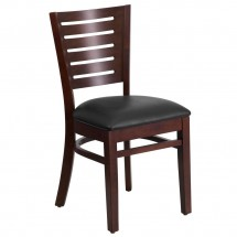 Flash Furniture XU-DG-W0108-WAL-BLKV-GG Darby Series Slat Back Walnut Wooden Restaurant Chair with Black Vinyl Seat