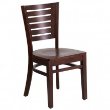 Flash Furniture XU-DG-W0108-WAL-WAL-GG Darby Series Slat Back Walnut Wooden Restaurant Chair