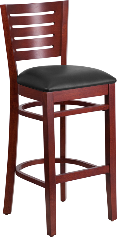 Flash Furniture XU-DG-W0108BBAR-MAH-BLKV-GG Darby Series Slat Back Mahogany Wooden Restaurant Barstool, Black Vinyl Seat
