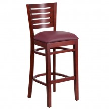 Flash Furniture XU-DG-W0108BBAR-MAH-BURV-GG Flash Furniture Darby Series Slat Back Mahogany Wooden Restaurant Barstool, Burgundy Vinyl Seat
