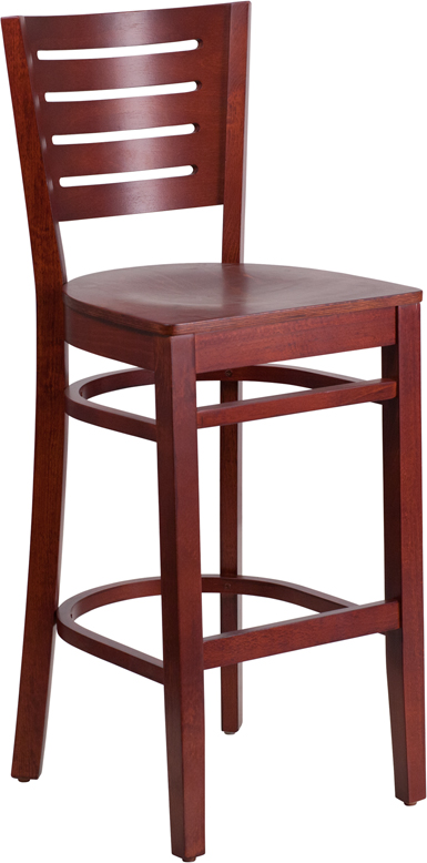 Flash Furniture XU-DG-W0108BBAR-MAH-MAH-GG Flash Furniture Darby Series Slat Back Wooden Mahogany Restaurant Barstool