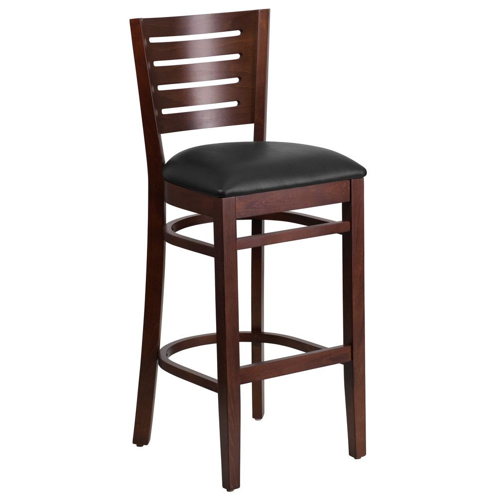 Flash Furniture XU-DG-W0108BBAR-WAL-BLKV-GG Flash Furniture Darby Series Slat Back Walnut Wooden Restaurant Barstool, Black Vinyl Seat