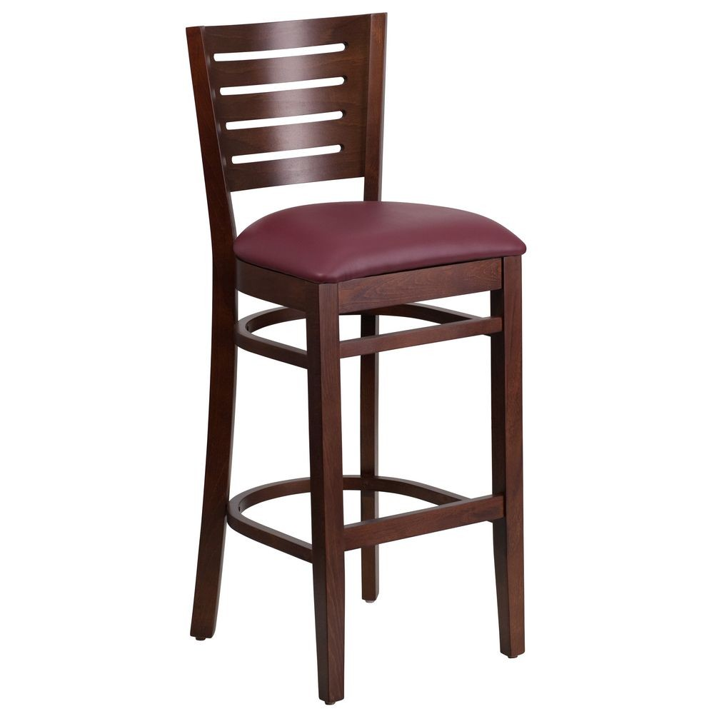 Flash Furniture XU-DG-W0108BBAR-WAL-BURV-GG Flash Furniture Darby Series Slat Back Walnut Wooden Restaurant Barstool, Burgundy Vinyl Seat