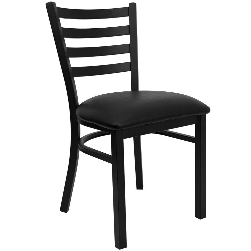 Flash Furniture XU-DG694BLAD-BLKV-GG HERCULES Series Black Ladder Back Metal Restaurant Chair - Black Vinyl Seat