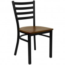 Flash Furniture XU-DG694BLAD-CHYW-GG HERCULES Series Black Ladder Back Metal Restaurant Chair - Cherry Wood Seat
