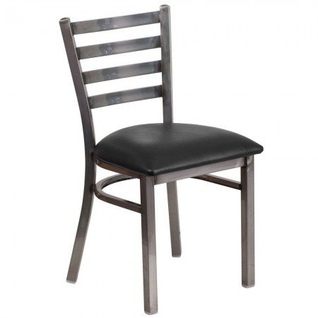 Flash Furniture XU-DG694BLAD-CLR-BLKV-GG HERCULES Clear Coated Ladder Back Metal Restaurant Chair - Black Vinyl Seat