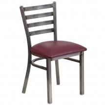 Flash Furniture XU-DG694BLAD-CLR-BURV-GG HERCULES Clear Coated Ladder Back Metal Restaurant Chair - Burgundy Vinyl Seat