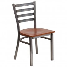 Flash Furniture XU-DG694BLAD-CLR-CHYW-GG HERCULES Clear Coated Ladder Back Metal Restaurant Chair - Cherry Wood Seat