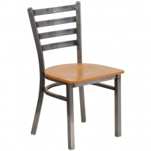 Flash Furniture XU-DG694BLAD-CLR-NATW-GG HERCULES Clear Coated Ladder Back Metal Restaurant Chair - Natural Wood Seat