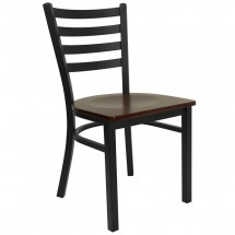 Flash Furniture XU-DG694BLAD-MAHW-GG HERCULES Series Black Ladder Back Metal Restaurant Chair - Mahogany Wood Seat