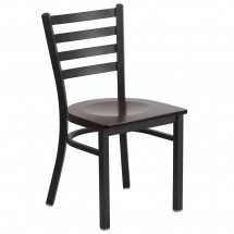 Flash Furniture XU-DG694BLAD-WALW-GG HERCULES Black Ladder Back Metal Restaurant Chair - Walnut Wood Seat