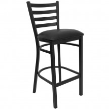 Flash Furniture XU-DG697BLAD-BAR-BLKV-GG HERCULES Series Black Ladder Back Metal Restaurant Bar Stool - Black Vinyl Seat