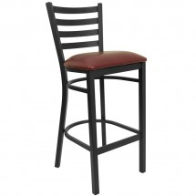 Flash Furniture XU-DG697BLAD-BAR-BURV-GG HERCULES Series Black Ladder Back Metal Restaurant Bar Stool - Burgundy Vinyl Seat
