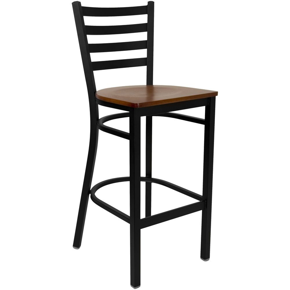 Flash Furniture XU-DG697BLAD-BAR-CHYW-GG HERCULES Series Black Ladder Back Metal Restaurant Bar Stool - Cherry Wood Seat