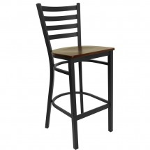 Flash Furniture XU-DG697BLAD-BAR-MAHW-GG HERCULES Series Black Ladder Back Metal Restaurant Bar Stool - Mahogany Wood Seat