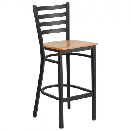 Flash Furniture XU-DG697BLAD-BAR-NATW-GG HERCULES Black Ladder Back Metal Restaurant Barstool - Natural Wood Seat