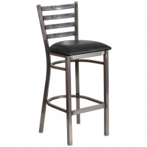 Flash Furniture XU-DG697BLAD-CLR-BAR-BLKV-GG HERCULES Clear Coated Ladder Back Metal Restaurant Barstool - Black Vinyl Seat